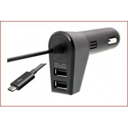 Cargador USB Doble p/auto c/cable Integrado USB Tipo C KLICABKMA-111