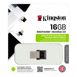 Pen Drive 3.0 DT OTG MicroDuo 16 GB Negro Kingston