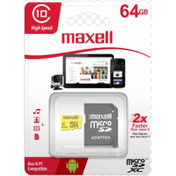 Memoria Micro SD HC I 64GB c/adap Maxell